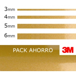 PACK AHORRO 4ud. Vinilo Adhesivo  Oro Metalizado 3M (3mm. 4mm. 5mm. 6mm.)