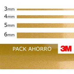 PACK AHORRO 4ud. Vinilo Dorado Metalizado 3M (3mm. 4mm. 5mm. 6mm.)