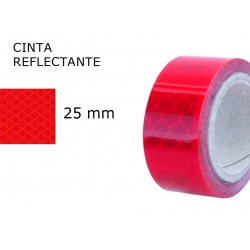 25 mm. ancho Cinta Reflectante Roja 3M