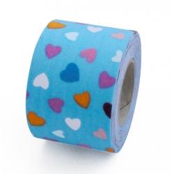 Cinta decorativa de tela adhesiva Corazones azules