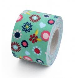 Fabric Tape de Tela de flores en fondo verde