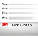 PACK AHORRO 4ud. Vinilo Adhesivo Gris Metalizado 3M (3mm. 4mm. 5mm. 6mm.)
